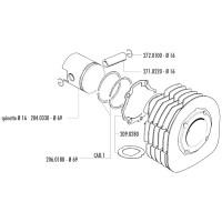 Zuiger Kit Polini 225cc 69mm 16mm Pistonpen voor Ape MPM 600, MPR 500, MPV 600