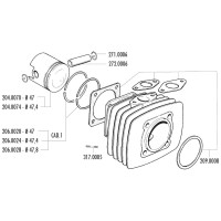 Zuigerveer Polini 47,4x1,5mm voor Fantic Motor Issimo, Minarelli V1, Vespa PK, XL, Ape 50