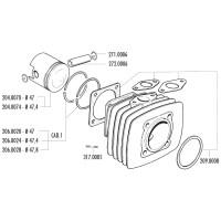 Zuigerveer Polini 47,8x1,5mm voor Fantic Motor Issimo, Minarelli V1, Vespa PK, XL, Ape 50