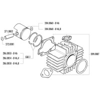 Zuigerveer Polini 65cc 46,8x1,5mm voor CPI, Keeway Euro2, Honda Wallaroo, Peugeot 103, 104, 105, Fox, GL 10, SPX 50