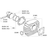 Zuigerveer Polini 46,4x1,5mm voor Minarelli horizontaal AC, Honda Camino, PX 50