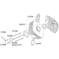 Cilinder Pakkingset Polini Serie 6000 80cc 48mm voor Fantic Motor Regolarita 50, Minarelli P4-P6