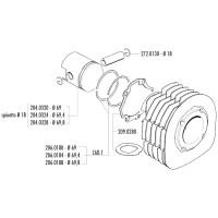 Cilinder Pakkingset Polini voor Ape 601 V, Car P2, MPM 600, MPR 500, MPV 600, P 501, P 602, TM 703