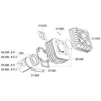Cilinder Pakkingset Polini 70cc voor Piaggio AC