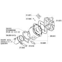 Cilinder Pakkingset Polini Racing Evolution 70cc voor Minarelli horizontaal LC