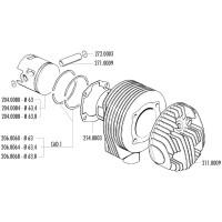 Cilinderkop Polini 63mm voor LML Star Deluxe, Vespa PX, TS, 125-150cc 2T