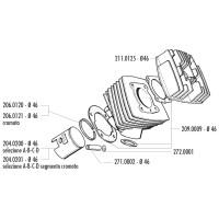 Cilinderkop Polini 65cc 46mm voor Peugeot 103, 104, 105, GL 10, SPX 50